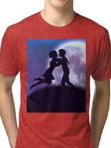 Couple silhouette in the night Tri-blend T-Shirt