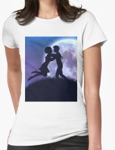 Couple silhouette in the night Womens Fitted T-Shirt