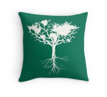 Earth tree *pearl white Throw Pillow