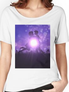 Couple silhouette on grass field Women's Relaxed Fit T-Shirt