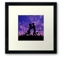 Couple silhouette on grass field 2 Framed Print