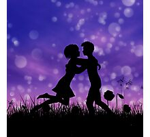 Couple silhouette on grass field 2 Photographic Print