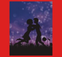 Couple silhouette on grass field 2 Kids Clothes