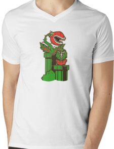 Pirhana Plant MARIO  Mens V-Neck T-Shirt