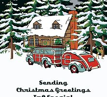 Cousin Sending Christmas Greetings Card by Gear4Gearheads