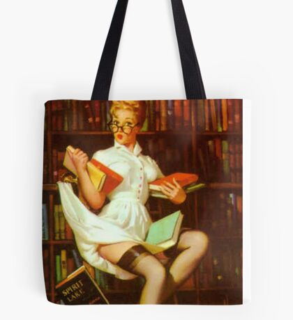 Gil Elvgren Pin Up Librarian Tote Bag