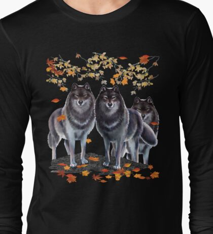 Wolves In Fall Long Sleeve T-Shirt