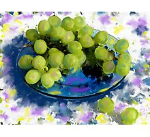Blue plate green grapes Photographic Print