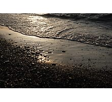 Golden Foam and Pebbles - Early Light at the Breakwater Photographic Print