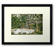 My Enhanced Pencil Drawing of Fingle Bridge - all products bar duvet Framed Print