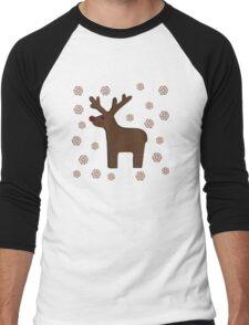 Christmas deer! grey Men's Baseball ¾ T-Shirt