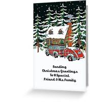 Friend & His Family Sending Christmas Greetings Card Greeting Card