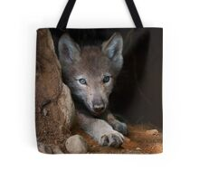 Timber Wolf Pup in Den Tote Bag