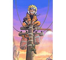 naruto on a telephone pole with frogs Photographic Print