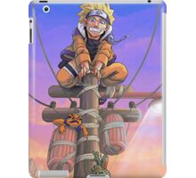 naruto on a telephone pole with frogs iPad Case/Skin