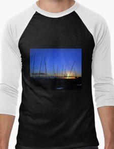 View Across Monmouth Beach, Lyme Dorset UK Men's Baseball ¾ T-Shirt