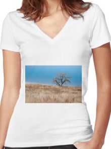 Grasslands Women's Fitted V-Neck T-Shirt