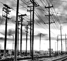 Power Lines & Train Tracks by Carly Faust