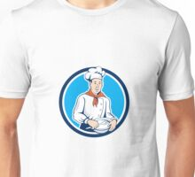 Chef Cook Holding Spoon Bowl Circle Cartoon Unisex T-Shirt