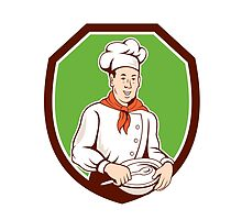 Chef Cook Holding Spoon Bowl Shield Cartoon by patrimonio