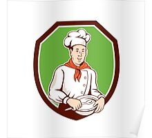 Chef Cook Holding Spoon Bowl Shield Cartoon Poster