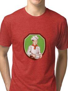 Chef Cook Holding Spoon Bowl Shield Cartoon Tri-blend T-Shirt