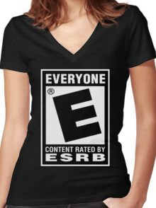 Content Rated by ESRB Women's Fitted V-Neck T-Shirt