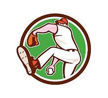 Baseball Pitcher Outfielder Throw Ball Circle Cartoon by patrimonio