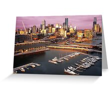 Melbourne city and Docklands at sunset Greeting Card
