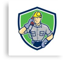 Telephone Repairman Phone Shield Cartoon  Canvas Print