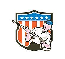 Pressure Washer Water Blaster USA Flag Cartoon Photographic Print