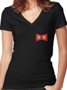 The Red Ribbon Army Symbol Women's Fitted V-Neck T-Shirt