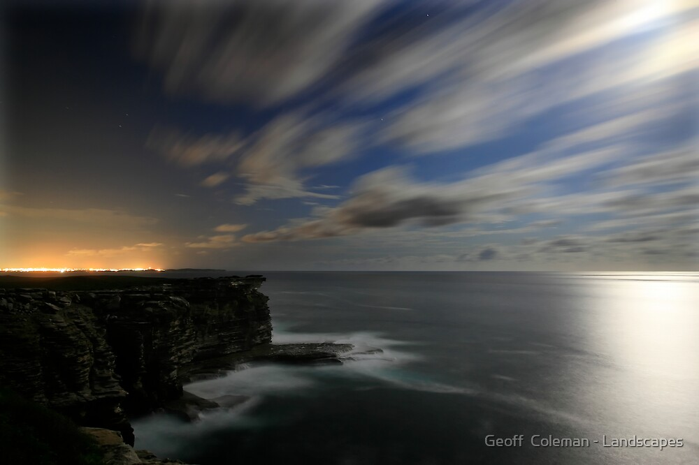 Stillness and Speed on a Moonlit Night by Geoff  Coleman - Landscapes