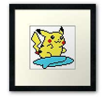 Pikachu surf - pixelart Framed Print