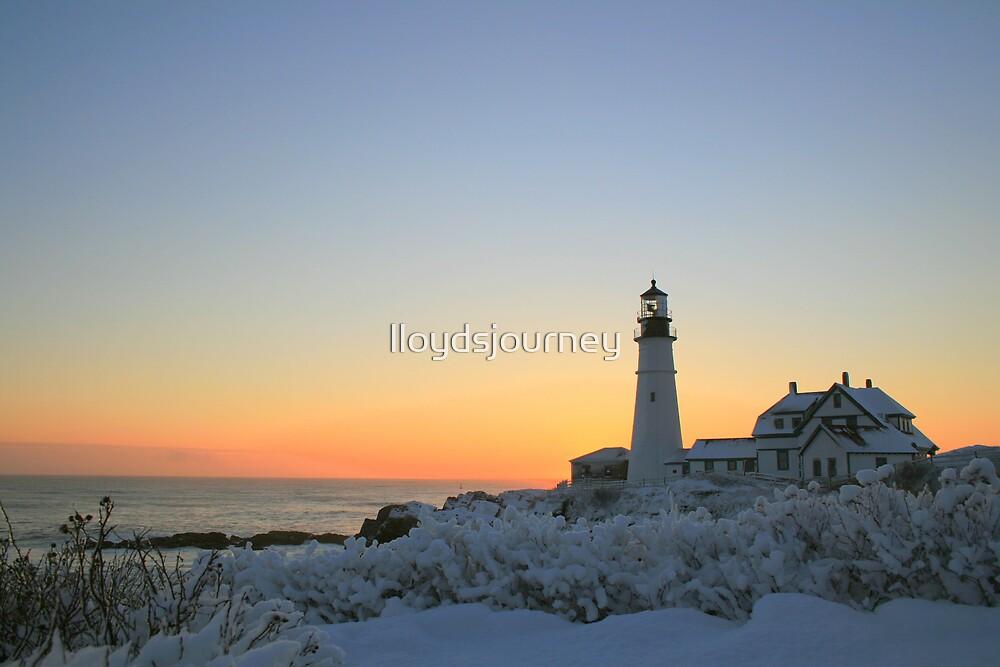 Morning snow: Portland Head Light by lloydsjourney