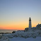 Morning snow: Portland Head Light by lloydsjourney