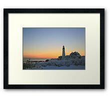 Morning snow: Portland Head Light Framed Print