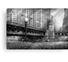 Chicago, IL - DuSable Bridge built in 1920  - BW Canvas Print