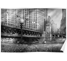 Chicago, IL - DuSable Bridge built in 1920  - BW Poster