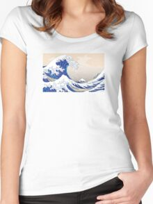 The Great Wave off Kanagawa - Hokusai Women's Fitted Scoop T-Shirt