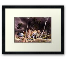 'Peasants Surprised by a Violent Storm' by Katsushika Hokusai (Reproduction) Framed Print