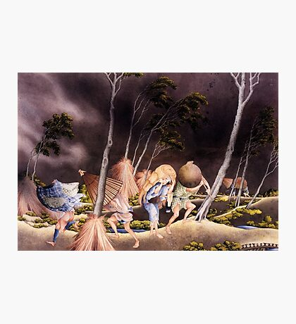 'Peasants Surprised by a Violent Storm' by Katsushika Hokusai (Reproduction) Photographic Print