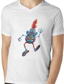 Robot Head Man Mens V-Neck T-Shirt