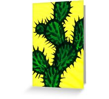 Chinese brush painting - Opuntia cactus. Greeting Card