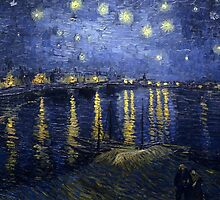 'Starry Night Over The Rhone' by Vincent Van Gogh (Reproduction) by Roz Abellera Art Gallery