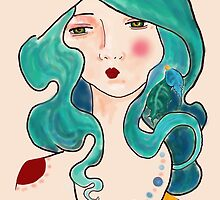 turquoise feathers in her hair by Gabrielle Agius