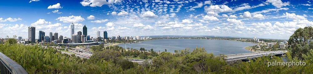 Perth City, Swan River and Narrows Bridge by palmerphoto