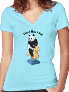 Panda Bear That's How I Roll Women's Fitted V-Neck T-Shirt