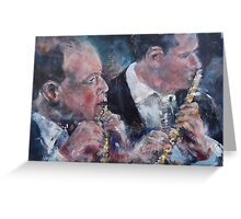 Playing The Flute - Music Art Gallery Greeting Card