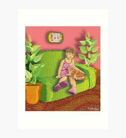 Girl&Cat Art Print